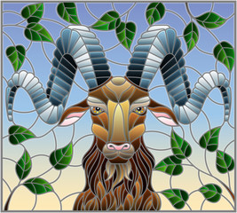 Illustration in stained glass style with ram head,on the background of tree branches and the sky, a rectangular image