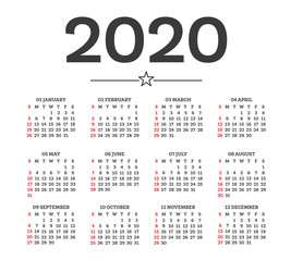 Calendar 2020 Isolated on White Background. Week starts from Sunday.