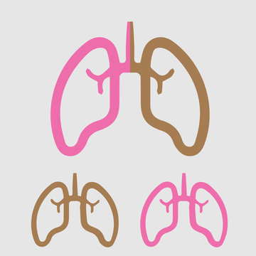 Lungs set vector icon. Smoker and non-smoker lung simple isolated illustration.