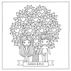 vector hand drawing illustration of a biblical scene with Adam and Eve. Coloring book page for adults, kids. Concept for invitation, card, poster, emblem, T- shirt design.