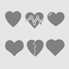 Heart set vector icon. Simple isolated pictogram. Love symbol.
