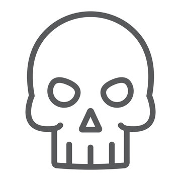 Skull line icon, halloween and death, skeleton sign, vector graphics, a linear pattern on a white background