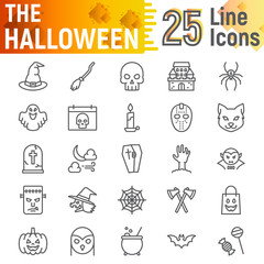 Halloween line icon set, spooky symbols collection, vector sketches, logo illustrations, horror signs