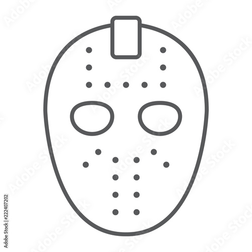 Hockey Mask Thin Line Icon Helmet And Mask Goalie Sign Vector