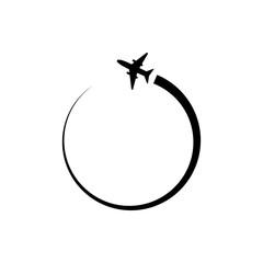 Plane circle maneuver logo icon design template vector