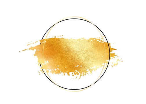 Gold glitter foil brush stroke vector. Golden paint smear with circle round border frame isolated on white. Glow metal creative pattern.