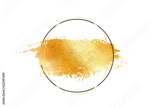 2596dff79de4 Gold glitter foil brush stroke vector. Golden paint smear with circle round border  frame isolated