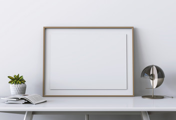 mock up poster frame on table in hipster interior living room. 3D render