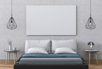 Mockup blank poster 3D rendering of interior bed room