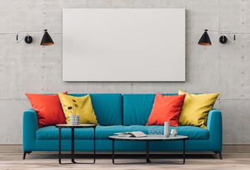 mock up poster frame in hipster interior living room background, 3D render