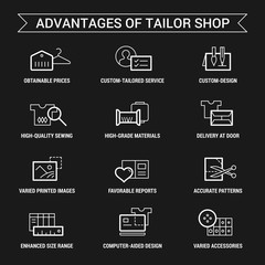 Advantages of tailor shop. Icons set. Thin and thik lines. White on black.
