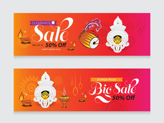 Durga Puja Big Sale Festival Offer Banner Design Template with 50% Discount Tag