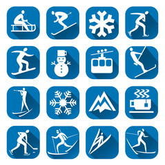 Winter sport icon with long shadow. Set of blue winter sport icons with winter sport activities. Vector available.