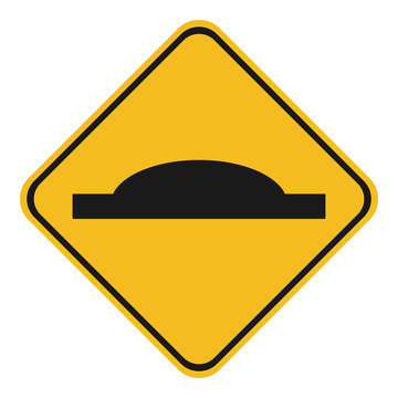 SPEED HUMP sign. Yellow rhombus. Vector.