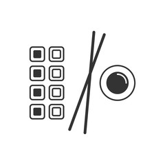 Sushi, rolls  line icon Isolated on white background. Japanese food sign, logo, pictogram for mobile app and web design. Simple linear style. Pixel graphics. Editable stroke.