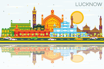 Lucknow India City Skyline with Gray Buildings, Blue Sky and Reflections.