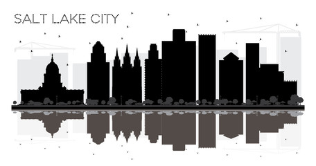 Salt Lake City Utah Skyline black and white silhouette with Reflections.