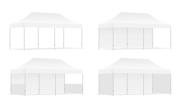 Set of four outdoor promotional rectangular tents with side views, isolated on white background. Vector illustration