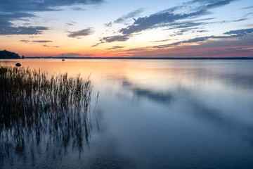 Beautiful sunrise at lake Chiemsee in bavaria / Germany