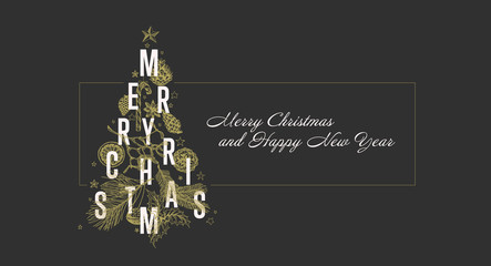 Modern vector christmas card template with tree