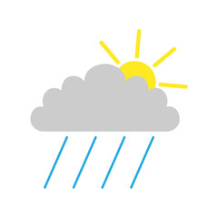 RAINFALL symbol. CLOUD, SUN and RAIN. Weather forecast icon. Vector.