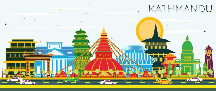 Kathmandu Nepal City Skyline with Color Buildings and Blue Sky.