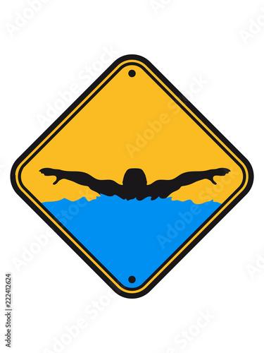 Achtung Warnung Vorsicht Hinweis Schild Wettkampf Schwimmen