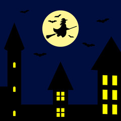 Silhouettes of witch flying on broomstick and bats. Full moon on the night town background. Vector.