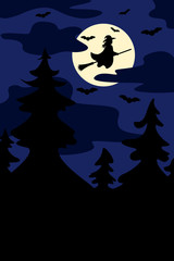 Silhouettes of witch flying on broomstick and bats. Full moon on the night forest background. Vector.