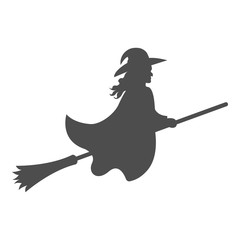 Silhouette of witch flying on broomstick. Vector.