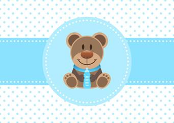 Boy Card Teddy & Baby Bottle Dots