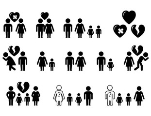 set of black icons with family situation