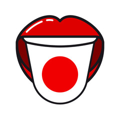 Japanese language tongue with flag Japan open woman smile mouth flat icon