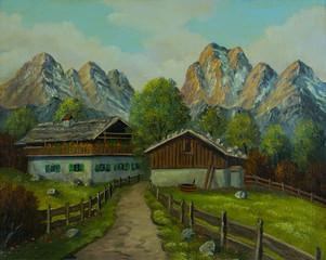 Eingezäunter Weg zum Bauernhaus in den Bergen