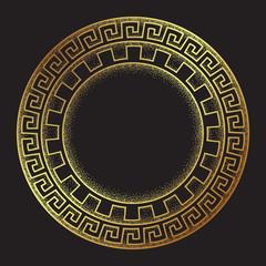 Antique greek style gold meander ornanent hand drawn line art and dot work round frame design vector illustration.
