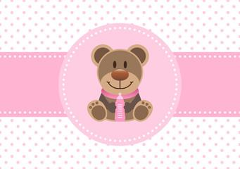 Girl Card Teddy & Baby Bottle Dots