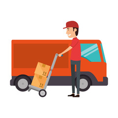 delivery worker with cart and truck