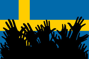 Hands up silhouettes on a Sweden flag. Crowd of fans of soccer, games, cheerful people at a party. Vector banner, card, poster.