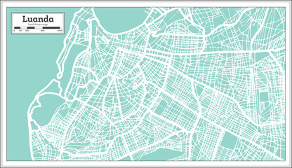 Luanda Angola City Map in Retro Style. Outline Map.