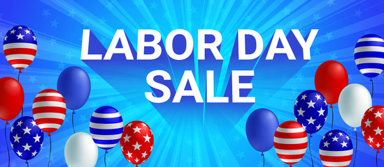 Labor day sale poster flyer banner vector illustration. American flag balloon on blue background design. Labor day celebration concept advertising.