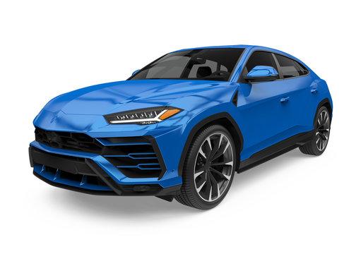 Blue SUV Car Isolated