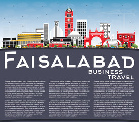 Faisalabad Pakistan City Skyline with Gray Buildings, Blue Sky and Copy Space.