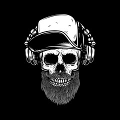 bearded skull in headphones. Design element for poster, card, emblem, sign banner.