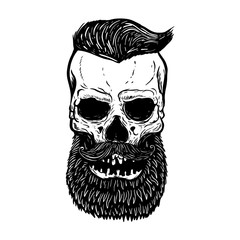 Wall Murals Owls cartoon Hand drawn bearded skull isolated on white. Design elements for logo, label, emblem, sign.