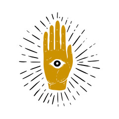 Hand drawn illustration of sunburst, hand, and all seeing eye symbol. Eye of Providence. Masonic symbol.