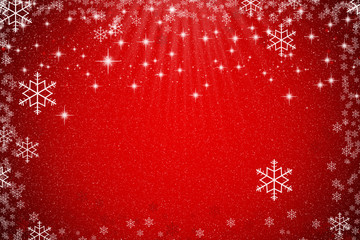 Abstract red Xmas background with stars, snowflakes and light gradient effect for winter season and Christmas day concept