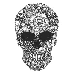 Hand Drawn Human Skull Made from flowers. Botany cranium. Design element for poster, t shirt.