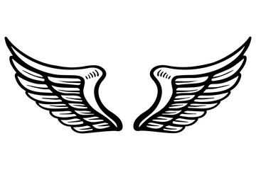 Hand drawn eagle wings illustration isolated on white background. Design element for poster, card, banner, sign, emblem, t shirt.