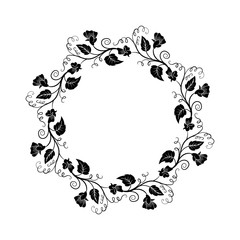 Decorative empty round floral frame. Temlate for greeting card, invitation. Romantic floral frame