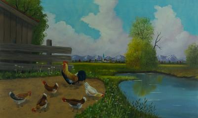 Fünf Hühner und ein großer Hahn neben dem Wasser